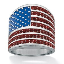 Silvertone American Flag Crystal Ring