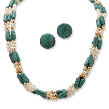 Goldtone Simulated Turquoise Necklace and Clip-On Earrings Set