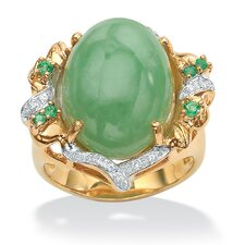 <strong>Palm Beach Jewelry</strong> Sterling Silver Green Jade/Emerald and Cubic Zirconia Ring