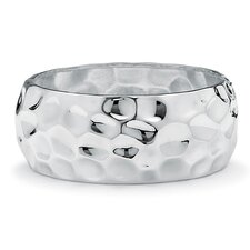 Silvertone Hammered-Style Bangle Bracelet