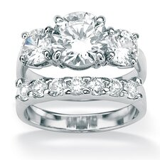 Platinum/Silver 2 Piece Cubic Zirconia Wedding Ring Set