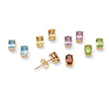 Sterling Silver 5 Pairs of Genuine Gemstone Earrings Set