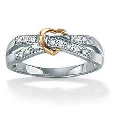 Platinum/Silver Diamond Accent Heart Ring