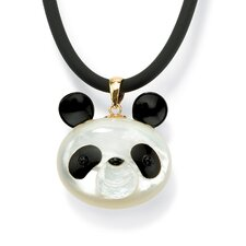 14k Gold Mother-of-Pearl and Reconstituted Onyx Panda Bear Pendant