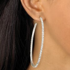 Silvertone Crystal Hoop Pierced Earrings