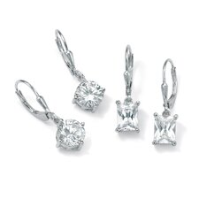 Platinum/Silver Cubic Zirconia 2 Pairs of Pierced Earrings