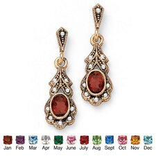 Gold Plated Birthstone Pierced Earrings