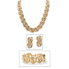 Goldtone 3-Piece Curb-Link Jewelry Set