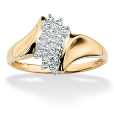 18k Gold/Silver Diamond Accent Cluster Ring