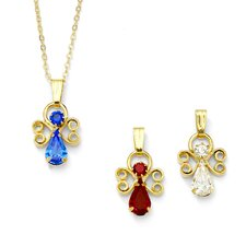 14k Gold Plated Birthstone Angel Pendant
