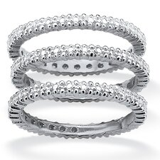 <strong>Palm Beach Jewelry</strong> Platinum/Silver Eternity Bands (Set of 3)