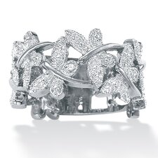 <strong>Palm Beach Jewelry</strong> Platinum/Silver Diamond Accent Butterfly Band