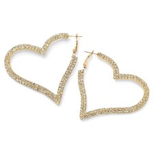 14k Gold Plated Multi-Crystal Heart Hoop Earrings