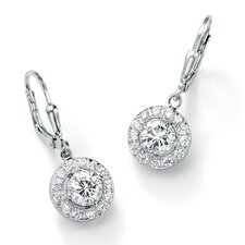 Sterling Silver Diamond Ultra Cubic Zirconia Drop Pierced Earrings
