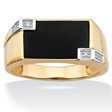 <strong>Palm Beach Jewelry</strong> Men's Rectangle Cut Onyx Ring