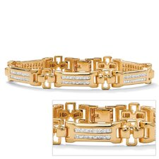 Gold Plated Men's Channel Set Cubic Zirconia Bracelet
