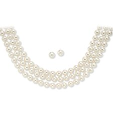 14k Gold-Pated Cultured Pearls Simulated Necklace and Pierced Earring Set