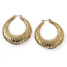 <strong>Palm Beach Jewelry</strong> Goldtone Hammered Style Hoop Earrings