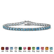 <strong>Palm Beach Jewelry</strong> Silvertone Round Birthstone Tennis Bracelet