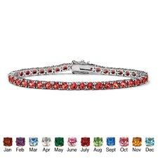 Silvertone Round Birthstone Tennis Bracelet
