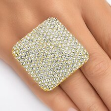 Gold Plated Pave-Set Crystal Square Ring