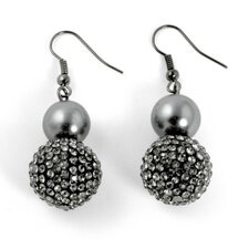 Black Ruthenium Simulated Pearl and Crystal Earrings
