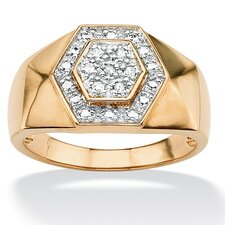 18k Gold/Silver Men's Round Diamond Hexagon Ring