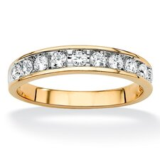 18k Gold/Silver Men's Cubic Zirconia Wedding Band