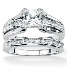Platinum/Silver 2 Piece Square Cubic Zirconia Ring Set