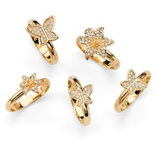 Gold Plated Stackable Rings (Set of 5)