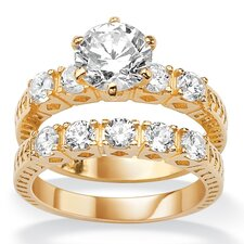 <strong>Palm Beach Jewelry</strong> Gold Plated Round Cubic Zirconia Wedding Ring Set