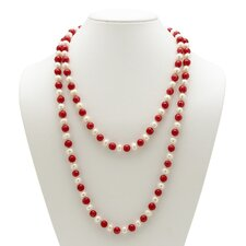 Red and White Cultured Pearl Necklace