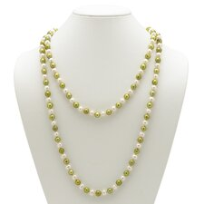 Green and White Cultured Pearl Necklace