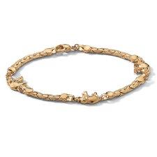 """1"""" Gold Plated Elephant Link Ankle Bracelet"""
