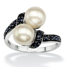 Platinum/Silver Freshwater Cultured Pearl/Sapphire Ring