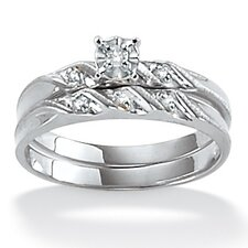 Platinum/Silver Diamond Accent Wedding Ring Set