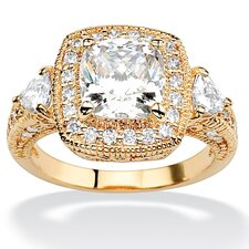 <strong>Palm Beach Jewelry</strong> 18k Gold/Silver Sterling Silver Cubic Zirconia Ring