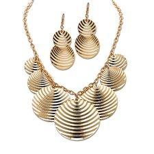 Goldtone Multi Disk Rolo Link Jewelry Set