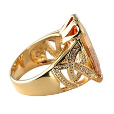Gold Plated Champagne/White Cubic Zirconia Ring