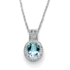 Platinum/Silver Blue Topaz and Diamond Accent Pendant