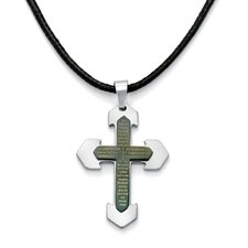 Stainless Steel Modern English Lord's Prayer Cross