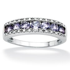Platinum/Silver Tanzanite and Diamond Accent Ring