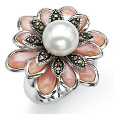 Sterling Silver Cultured Pearl Marcasite Ring