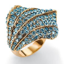 <strong>Palm Beach Jewelry</strong> Goldtone Aquamarine Colored Crystal Ring