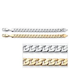 Gold Plated Men's Curb-Link Bracelet Set