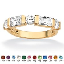 <strong>Palm Beach Jewelry</strong> Gold Plated Channel-Set Birthstone Ring