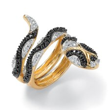 18k Gold/Silver Black Diamond Accent Snake Ring