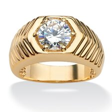 Gold Plated Round Cubic Zirconia Ring