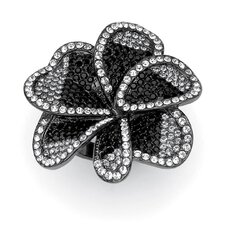Black Ruthenium Multi-Crystal Flower Ring