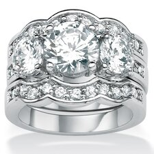 Silvertone Round Cubic Zirconia Wedding Ring Set